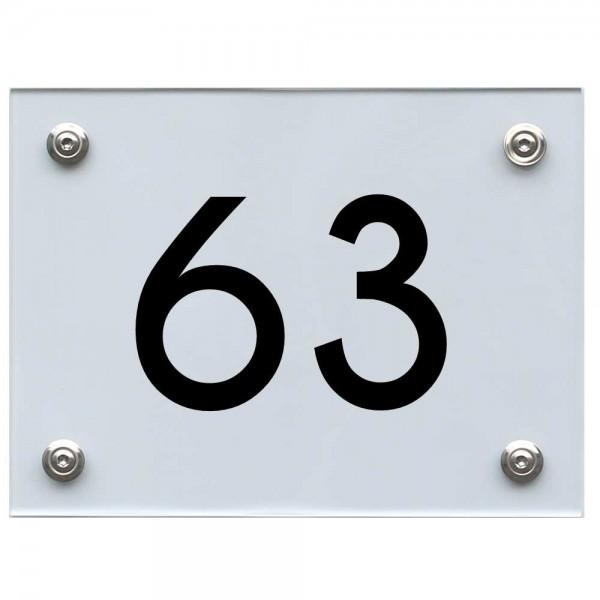 Hausnummernschild 63 schwarz
