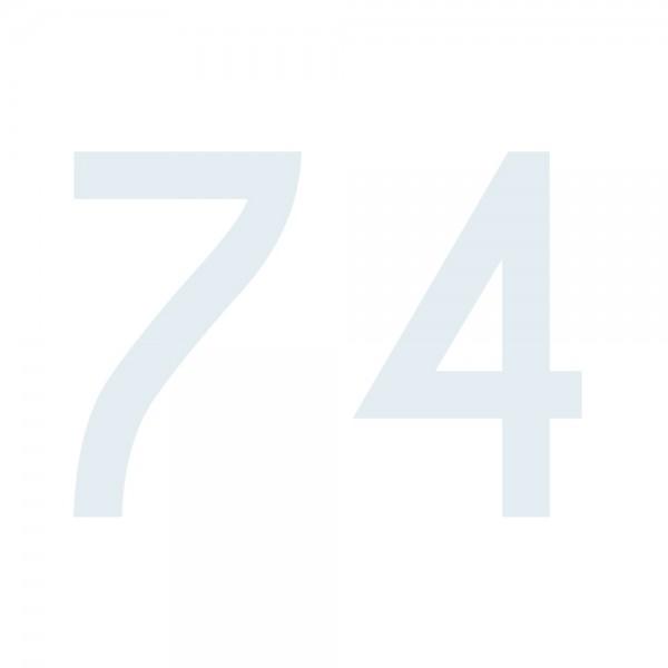 Zahlenaufkleber 74 weiß