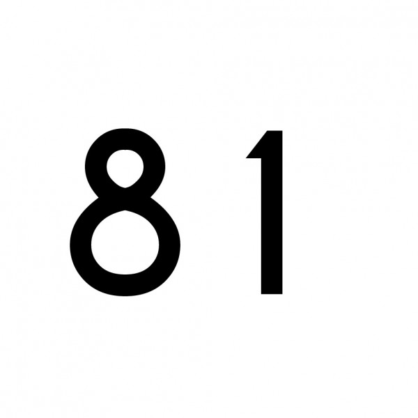 Hausnummer Aufkleber 81 schwarz