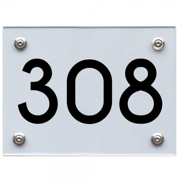 Hausnummernschild 308 schwarz