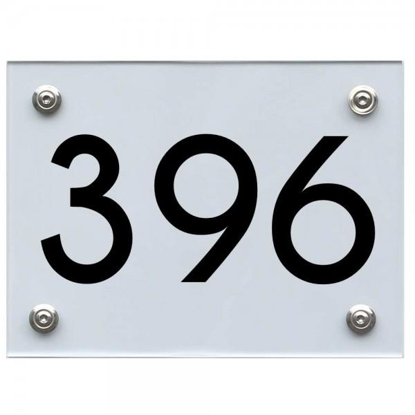 Hausnummernschild 396 schwarz