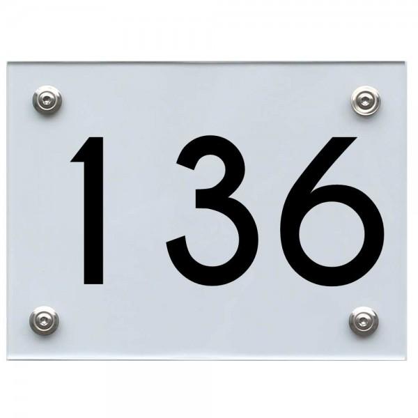 Hausnummernschild 136 schwarz