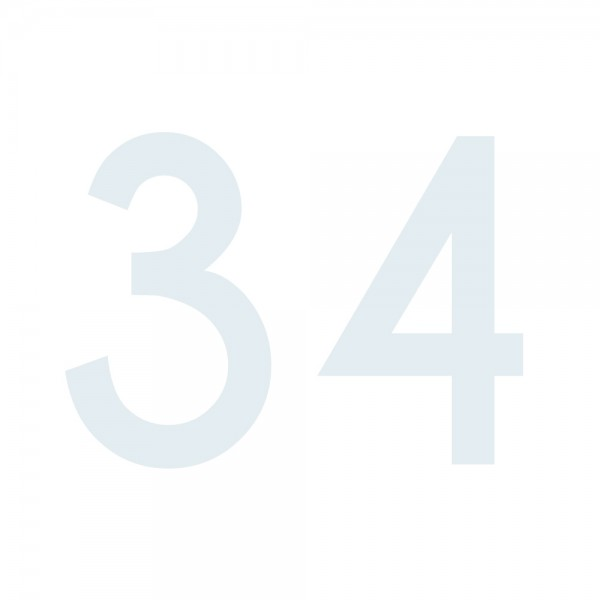 Zahlenaufkleber 34 weiß