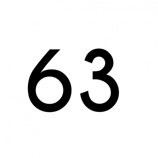 Hausnummer Aufkleber 63 schwarz