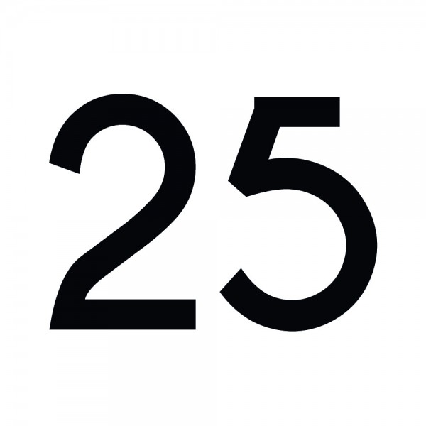 Zahlenaufkleber 25 schwarz