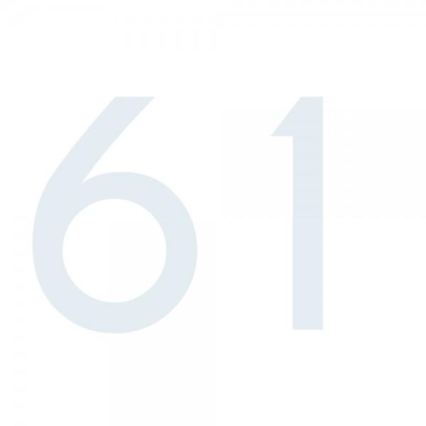 Zahlenaufkleber 61 weiß