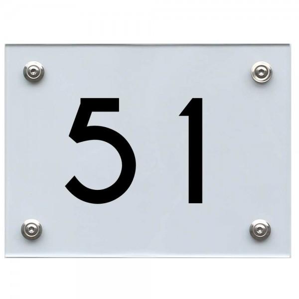 Hausnummernschild 51 schwarz