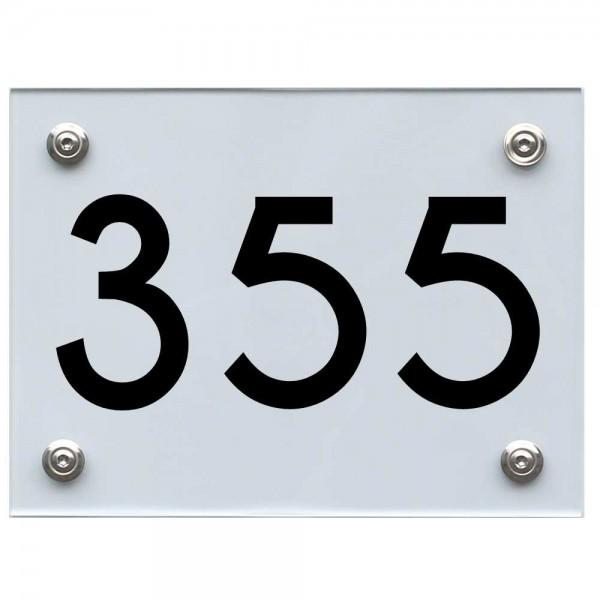 Hausnummernschild 355 schwarz