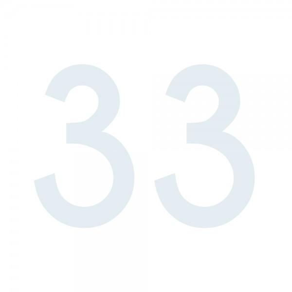 Zahlenaufkleber 33 weiß