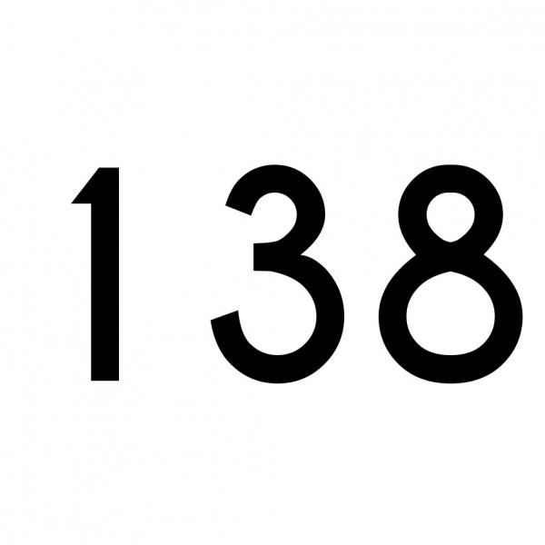 Hausnummer Aufkleber 138 schwarz