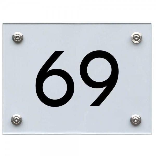 Hausnummernschild 69 schwarz