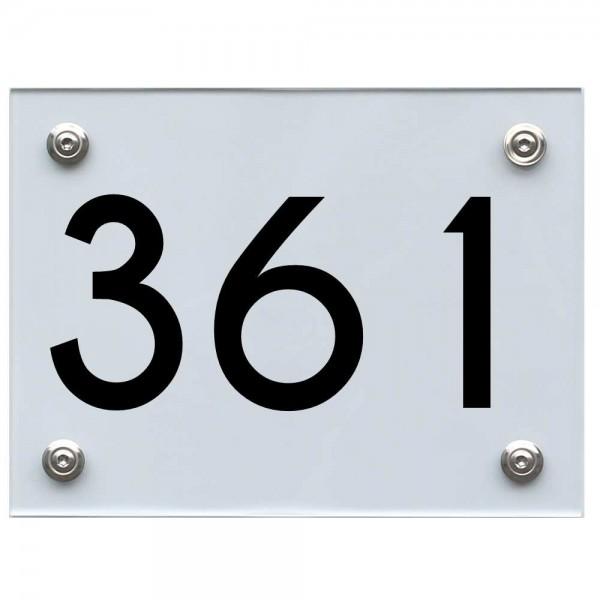 Hausnummernschild 361 schwarz