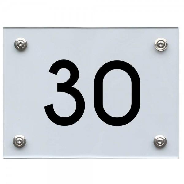 Hausnummernschild 30 schwarz