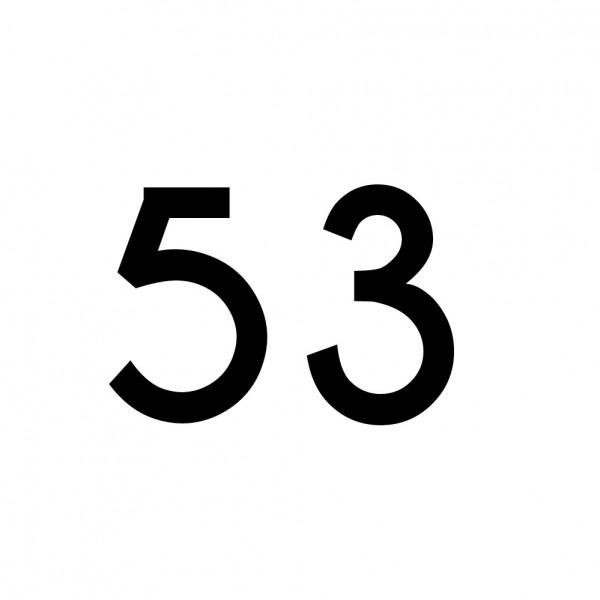 Hausnummer Aufkleber 53 schwarz