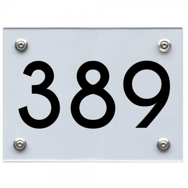 Hausnummernschild 389 schwarz