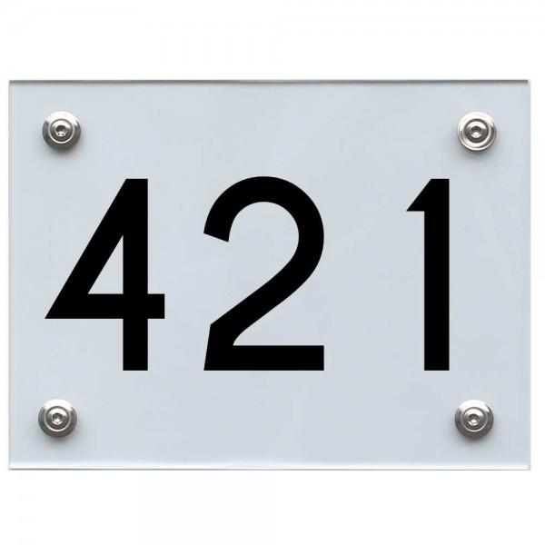 Hausnummernschild 421 schwarz