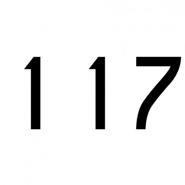Hausnummer Aufkleber 117 schwarz