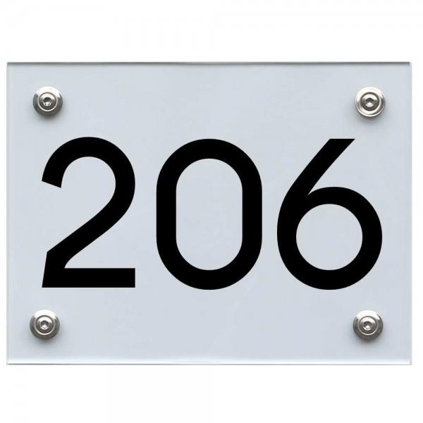 Hausnummernschild 206 schwarz