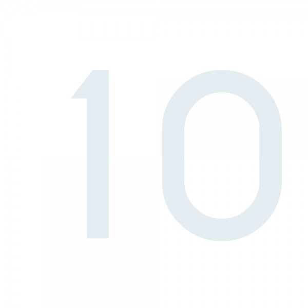 Zahlenaufkleber 10 weiß