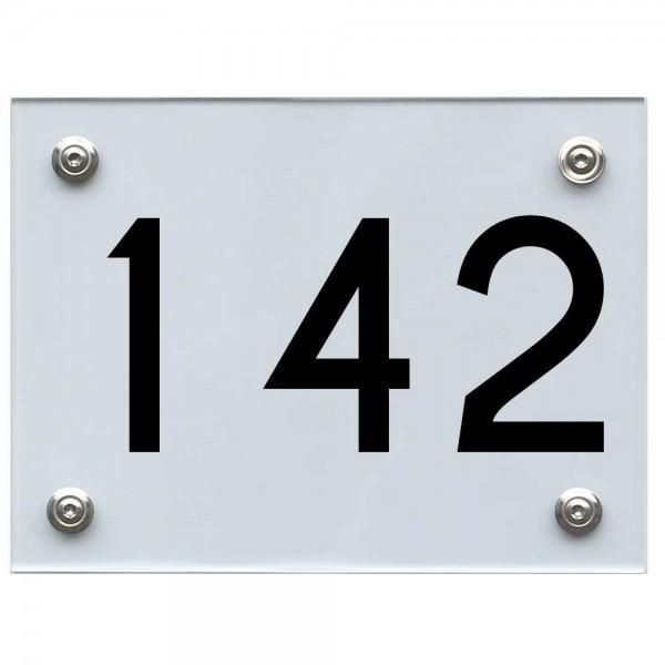 Hausnummernschild 142 schwarz