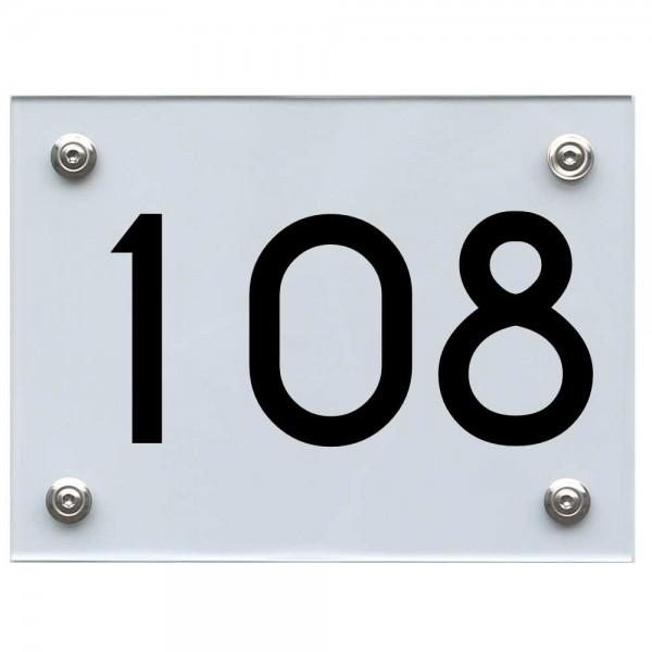 Hausnummernschild 108 schwarz
