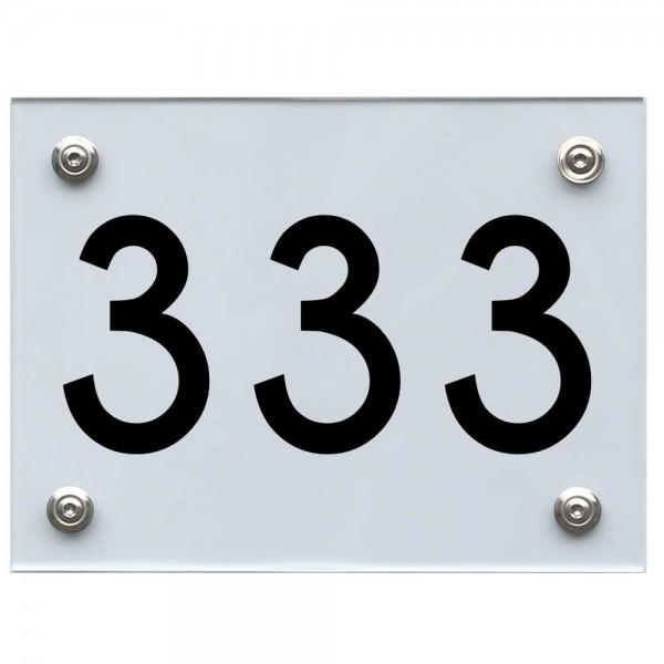 Hausnummernschild 333 schwarz