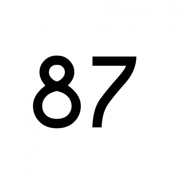 Hausnummer Aufkleber 87 schwarz