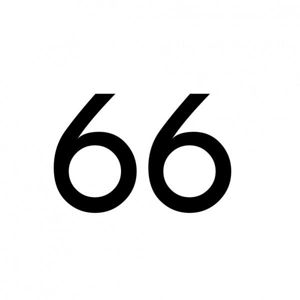 Hausnummer Aufkleber 66 schwarz