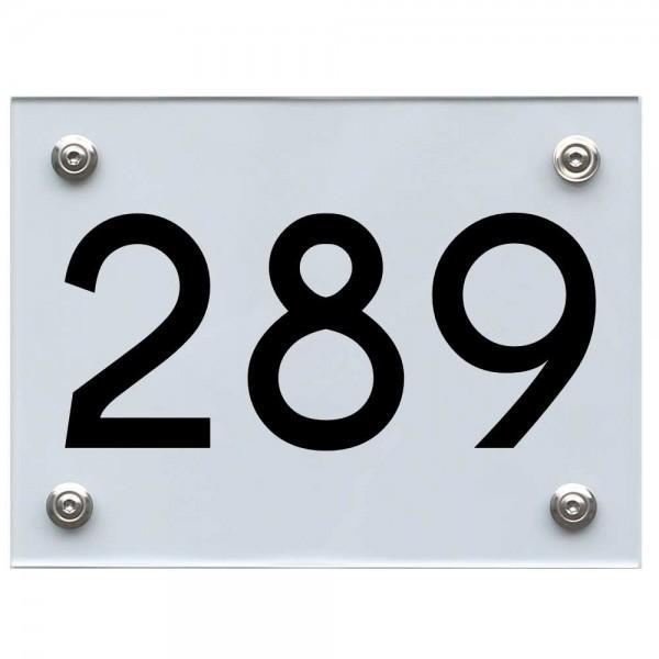 Hausnummernschild 289 schwarz