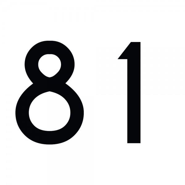 Zahlenaufkleber 81 schwarz