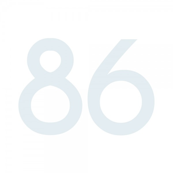 Zahlenaufkleber 86 weiß
