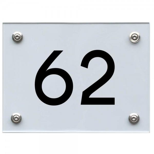 Hausnummernschild 62 schwarz