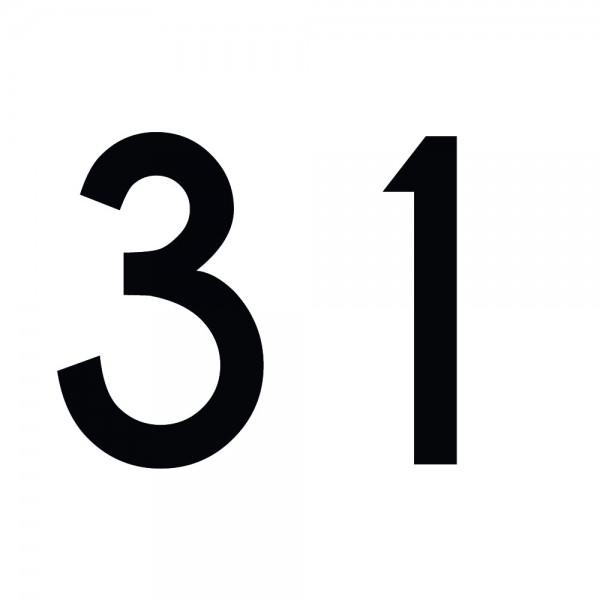 Zahlenaufkleber 31 schwarz