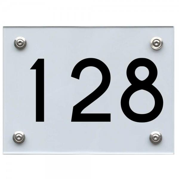 Hausnummernschild 128 schwarz