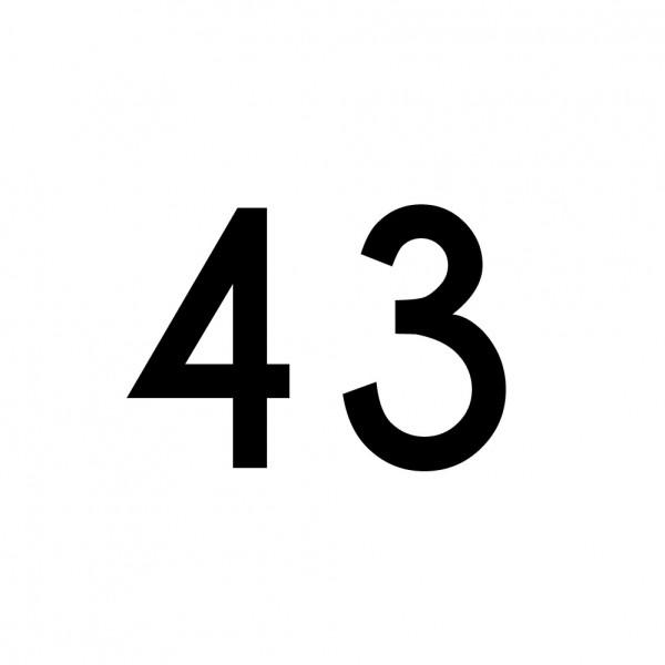 Hausnummer Aufkleber 43 schwarz