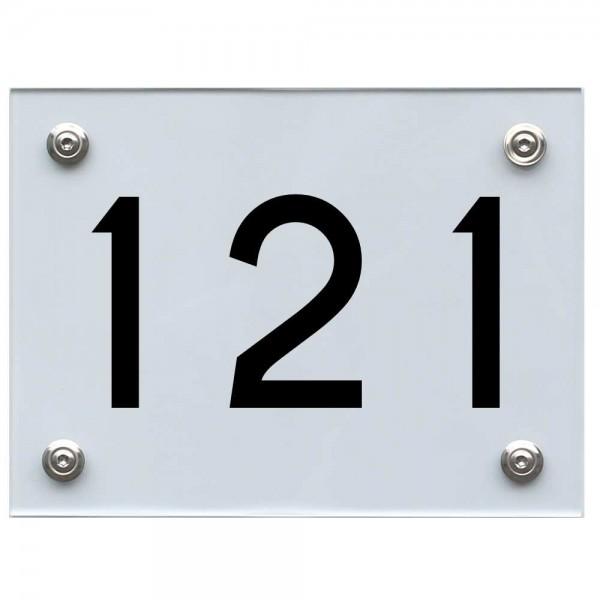 Hausnummernschild 121 schwarz
