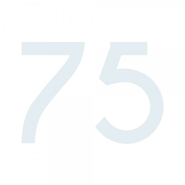 Zahlenaufkleber 75 weiß