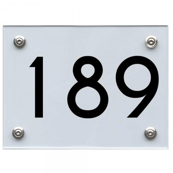 Hausnummernschild 189 schwarz