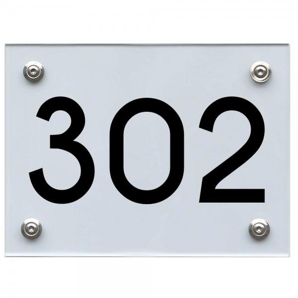 Hausnummernschild 302 schwarz