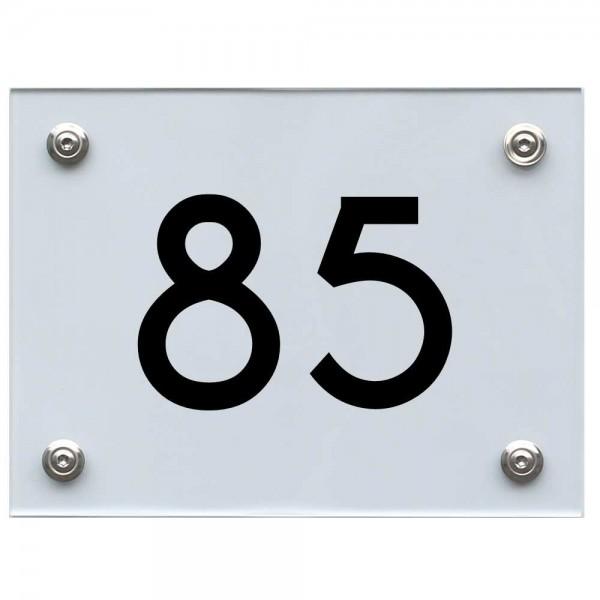 Hausnummernschild 85 schwarz