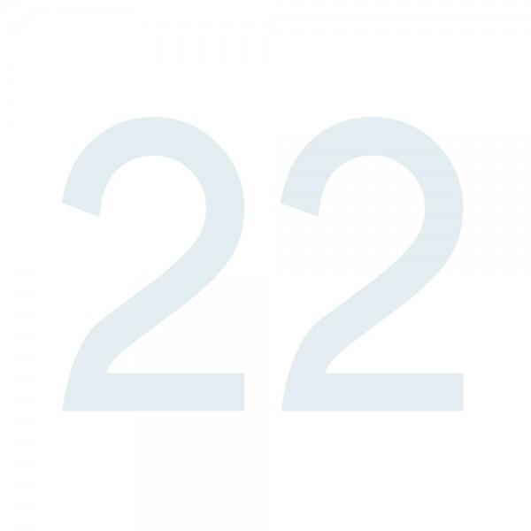 Zahlenaufkleber 22 weiß