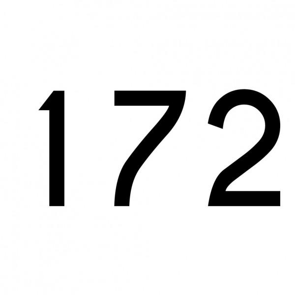 Hausnummer Aufkleber 172 schwarz