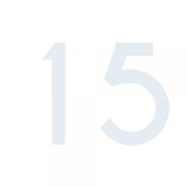 Zahlenaufkleber 15 weiß