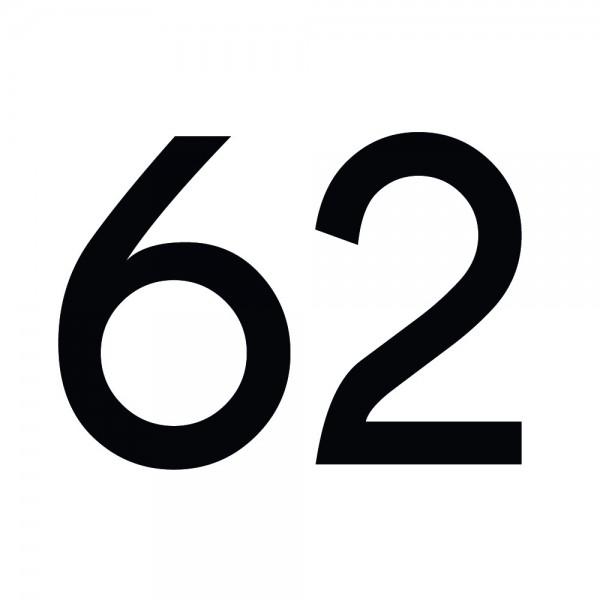 Zahlenaufkleber 62 schwarz