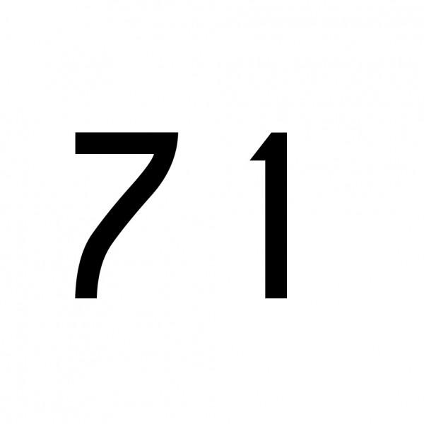 Hausnummer Aufkleber 71 schwarz