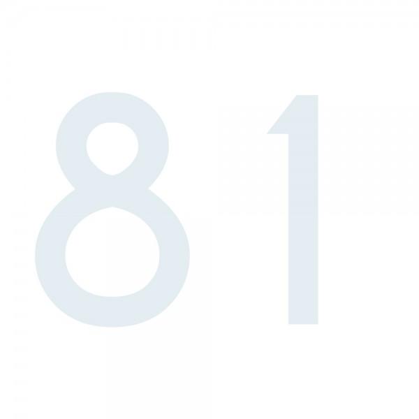 Zahlenaufkleber 81 weiß