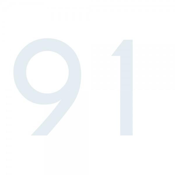 Zahlenaufkleber 91 weiß