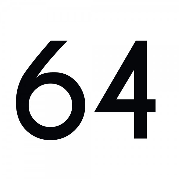 Zahlenaufkleber 64 schwarz