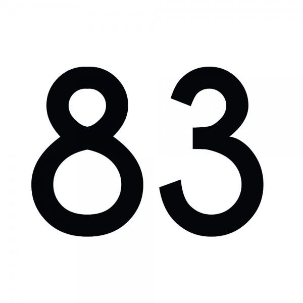 Zahlenaufkleber 83 schwarz