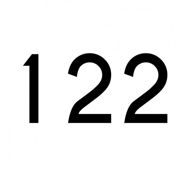 Hausnummer Aufkleber 122 schwarz